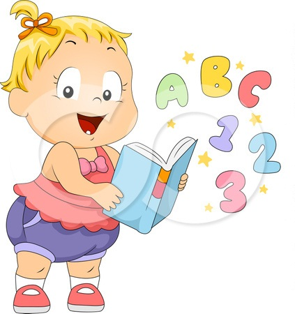 1070994-Clipart-Baby-Girl-With-A-Learning-Book-Royalty-Free-Vector-Illustration
